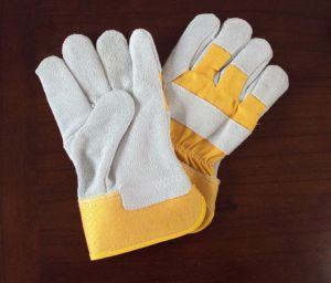 Industrial Safety Working Leather Glove with Mixed Cow Leather for Welding pictures & photos