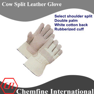 Select Shoulder Split Double Palm, White Cotton Back, Rubberized Cuff Leather Work Gloves pictures & photos