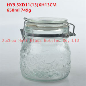 Glass Food Jar Glass Seal Jar 650ml with Glass Lid