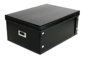 Foldable Black PU Leather File Storage Box pictures & photos