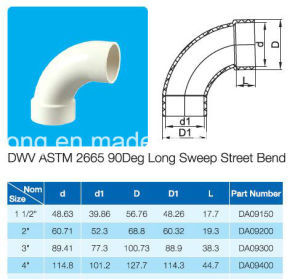 Plastic Fitting 90deg Long Sweep Street Bend ASTM D2665 Standard for Dwv Water pictures & photos