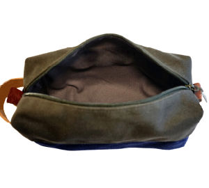 Custom Men′s Dopp Kit Waxed Canvas Leather Wholesale pictures & photos