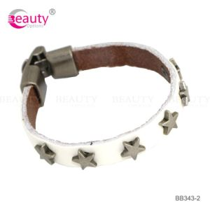 Stylish White Leather Bracelet Jewelry with Metal Star for Lady