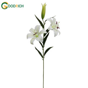 Real Touch Artificial Flower Lily with 2 Heads and 1 Bud pictures & photos