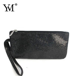 2015 High Quality Blak Flat Giltter Cosmetic Bag pictures & photos