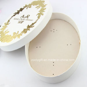 Oval Shape Luxury Beige Jewelry Gift Box with Gold Stamping Logo pictures & photos