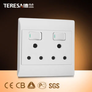 South Africa Standard 3 Round Hole Wall Switch Socket pictures & photos