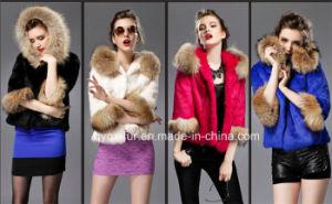 Multicolor Beautiful Hooded Genuine Rabbit Fur Coat Qx-F4 pictures & photos