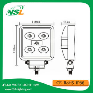 15W LED Work Light, 10-30V DC LED Work Light with 1275lm, Spot/Flood Beam, 5PCS X 3W Epsitar LEDs for Trucks, LED Work Light pictures & photos