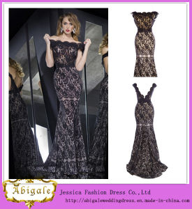 2014 New Sexy off-The-Shoulder Black Lace Mermaid Appliques V-Back See Through Prom Dress Patterns Yj0069