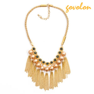 Golden Alloy Necklace with Pearl Decorated pictures & photos