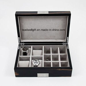 Executive High Gloss Piano Finsh Ebony Burl Wood Watch & Cufflink Jewelry Box Case pictures & photos