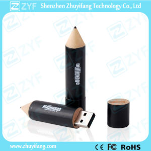 Pencil Shape Maple Wood USB Stick with Engraving Logo (ZYF1339)