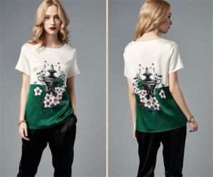 Fashion Russian Style Silk Printing T-Shirt for Women pictures & photos