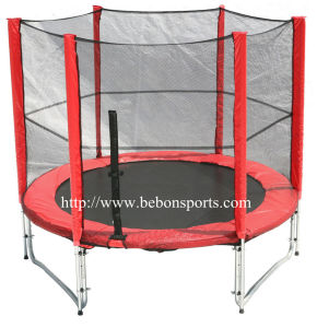 8ft Round Trampoline with Safety Net (red)