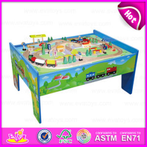 2015 Educational Table Train Set Wholesale Wooden Toys, Wooden Train Railway Set Toy, 88/S Wooden Train Set with Table W04D006 pictures & photos