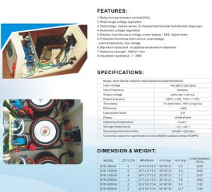 SVR-500va/1000va/1500va/2000va/3000va/5000va Relay-Type Automatic Voltage Regulator/Stabilizer pictures & photos