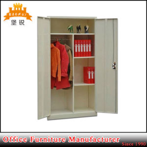 Swing Door Steel Wardrobe Metal Cloths Hanging Storage Cabinet with Hanger Rod pictures & photos
