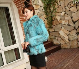Dl6055 Free Shipping Genuine Rabbiat Fur Jackets Coats Women Natural Fur Coats Real Rabbit Fur Jackets Plus Size pictures & photos