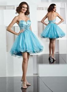 Blue Organza Cocktail Dress (Z-045)