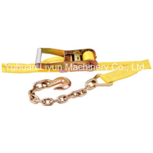 2′′ Ratchet Strap / Cargo Lashing/100% Polyester Strap with Chain Anchor