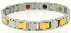 Metal Bracelet with Gold Foil and Magnets (SB-799GF)