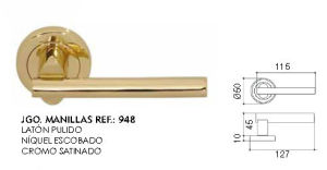 Brass Door Handle on Rose Furniture Handle-948 pictures & photos