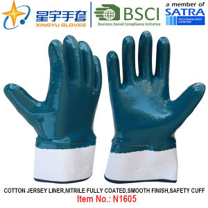 Cotton Jersey Shell Nitrile Coated Safety Work Gloves (N1605) pictures & photos