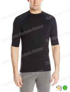 Quik-Dry Black Men′s Short Sleeve Lycra Rash Guard