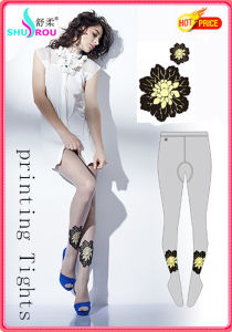 Fashion Sexy 20d Printing Flower Tights Pantyhose Leggings Silk Socks Stockings for Women (SR-1269)