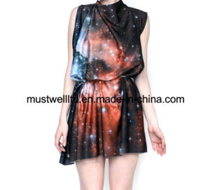 Nebula Galaxy Print Ladies′ Dress (MWNGP13030)