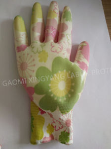 Garden Natrile Coated Glove Labor Protective Safety Work Gloves (N6025) pictures & photos