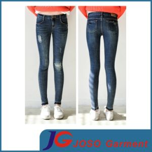 Women High Waist Rip Skinny Jeans (JC1233) pictures & photos