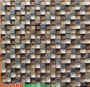 Slate Tile Mix Glass Mosaic for SPA/ KTV Decoration Building Wall Tile (KSL7744)