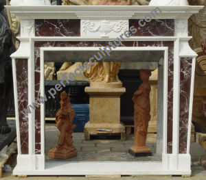 Stone Fireplace with Marble Mantel (QY-LS390) pictures & photos