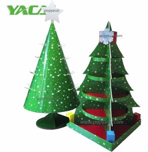 Christmas Tree Cardbord Display with Shelves, Outdoor Advertising Floor Display Stand for Gifts pictures & photos
