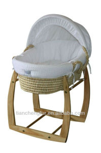 White Waffle Moses Basket Sets with Rocking Stand