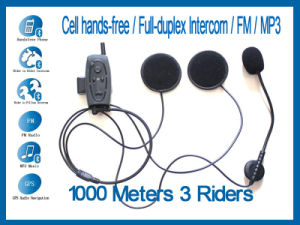 Bluetooth Motorcycle Motorbike Helmet Intercom Headset 1000m for 3 Riders with FM / MP3