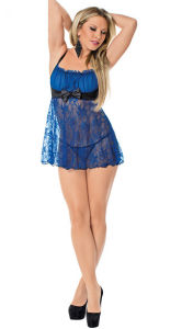 Royal Blue Satin and Lace Baby Doll Lingerie