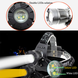 Double LEDs Headlamp One White LED + One Yellow LED pictures & photos