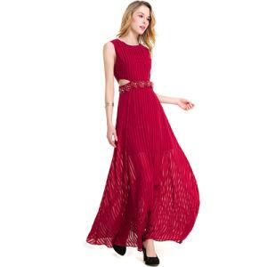 Maxi Burgundy Evening Dress Sleeveless Graceful pictures & photos