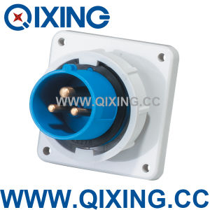 Cee 16A 230V Blue 3 Pins Industrial Panel Mounted Plug (QX826) pictures & photos