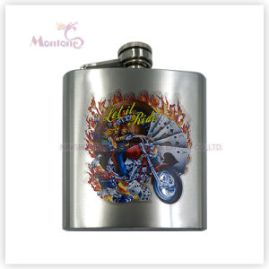 6 Ounce Whisky Ftransfer Print Logo Stainless Steel Hip Flask pictures & photos