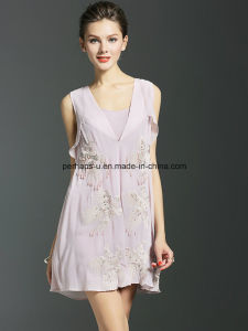 High Quality Embroidered Sleeveless Dress Ladies Dress pictures & photos