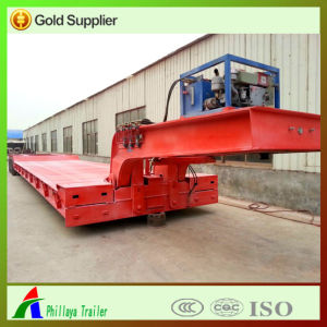 Front Foldable Gooseneck Loading Hydrauli Low Bed Semi Trailer pictures & photos