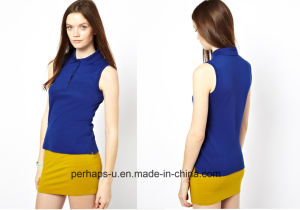 Popular Cotton Pique Ladies Sleeveless Polo T-Shirt pictures & photos