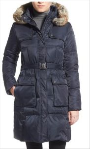 Wholesale OEM Belted Faux Fur Trim Cotton Ladies Padded Coat pictures & photos