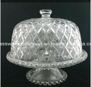Home Party Antique Clear Glass Cake Plate Cover (B-P009) pictures & photos