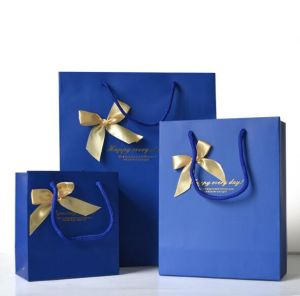 Custom Printing Blue Paper Gift Shopping Carrier Bag with Ribbon