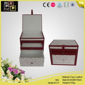 Cute Quality Cutom Made White Printed PU Leather Cosmetic Storage Container (1117) pictures & photos